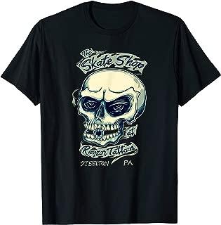 Tattoo Inspired Skateboard Shop Skull And Keystone Logo T-Shirt