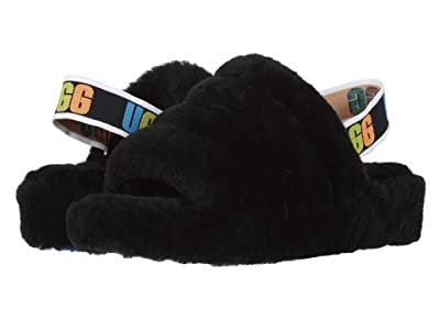 UGG Fluff Yeah Slide (Black Rainbow) Women