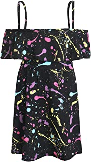Kids Girls Off Shoulder Dress Trendy Pastel Splash Print Fashion Party Dance Off Shoulder Dresss 7-13Y