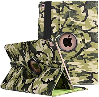 9.7'' iPad 3 Protective Case, TechCode 360 Degrees Rotating Camo Pattern Stand Screen Protective Smart Case PU Leather Multi Angle Viewing Cover for Apple iPad2/ iPad 3/ iPad 4,9.7 inch