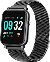 Anmino Smart Watch with Heart Rate Monitor BP Fitness Tracker IP68 Waterproof Activity Tracker Full Touch Screen Smartwatch Sleep Monitor Calorie Step Counter SMS Call Notification(Black Steel)