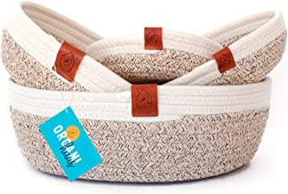 OrganiHaus 4-Pack Coiled Cotton Rope Trays | Small Woven Baskets for Organizing Crafts and Nursery | Classic Table Top Hom...