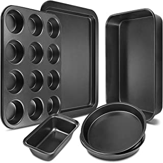 Bakeware Set 6-Pieces Carbon Steel Nonstick Baking Pans Oven Baking Set with Cookie Sheet, 12-Cup Muffin Pan, Loaf Pan, 2 Round Cake Pans, Roasting Pan, Kitchen Baking Tools