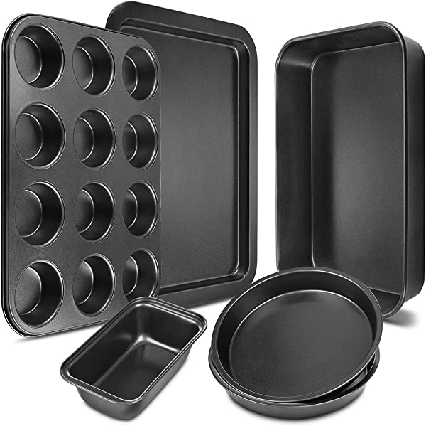 Bakeware Set 6 Pieces Carbon Steel Nonstick Baking Pans Oven Baking Set With Cookie Sheet 12 Cup Muffin Pan Loaf Pan 2 Round Cake Pans Roasting Pan Kitchen Baking Tools