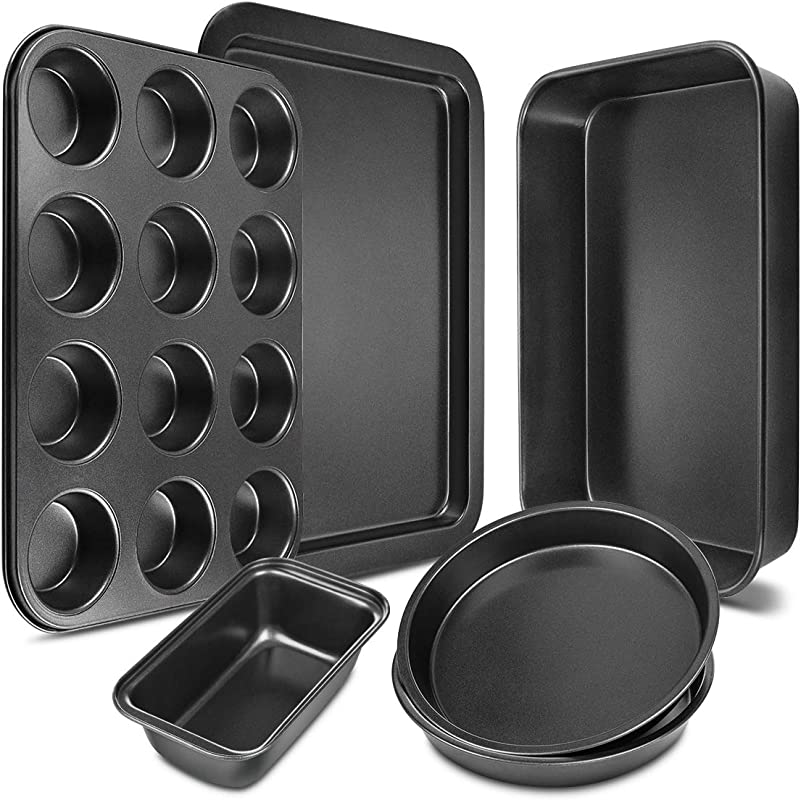 Bakeware Set 6 Pieces Carbon Steel Nonstick Baking Pans Oven Baking Set With Cookie Sheet 12 Cup Muffin Pan Loaf Pan 2 Round Cake Pans Roasting Pan Kitchen Baking Tools