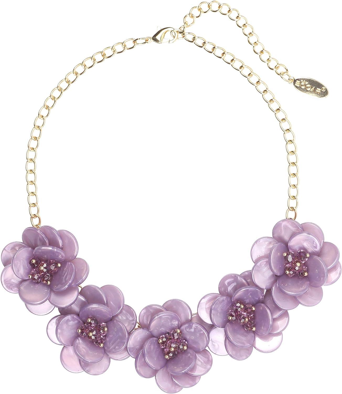 Bocar Statement Choker Flower Necklace for Women Gift