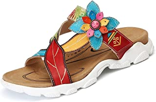 Women Platform Sandals Leather Flat Slip On Shoes Summer Open Toe Flip Flops Casual Beach Slipper Mules