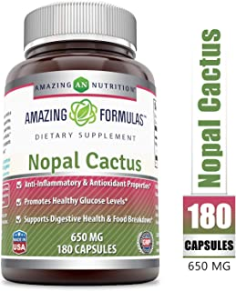 Amazing Formulas Nopal Cactus 650 Mg 180 Capsules - Anti-Inflammatory & Antioxidant Properties, Promotes Healthy Glucose Levels, Supports Digestive Health & Food Breakdown.