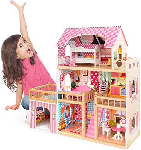 high quality ROBUD lowest Wooden Dollhouse for Toddlers with Furniture 3ft Tall 3-Storey Preschool Dollhouse discount House Toy Dollhouse for Girls sale