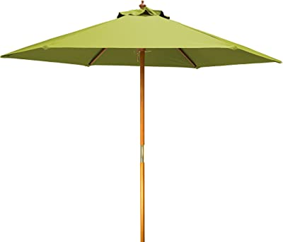 8' Wood Frame Patio Umbrella by Trademark Innovations (Light Green)