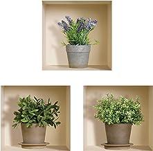 The Nisha Art Magic 3D Vinyl Removable Wall Sticker DIY, Set of 3, Green Lavender Plants