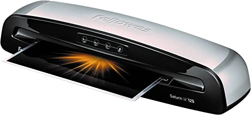 Fellowes 5736606 Laminator Saturn3i 125, 12.5 inch, Rapid 1 Minute Warm-up Laminating Machine, with Laminating Pouche...