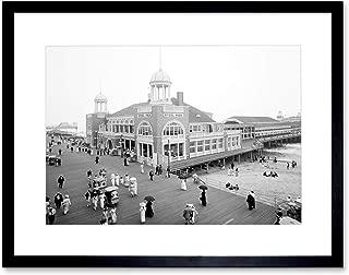 STEEL PIER ATLANTIC CITY NJ VINTAGE HISTORY OLD BW FRAMED ART PRINT B12X975