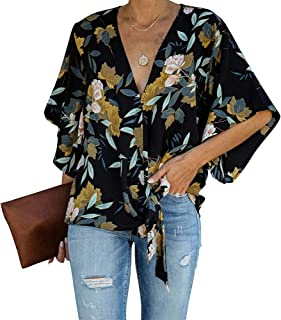 Byinns Women's V Neck Floral Printed Loose Blouses Tie Front Knot Casual Shirts Bat Sleeve Chiffon Tops