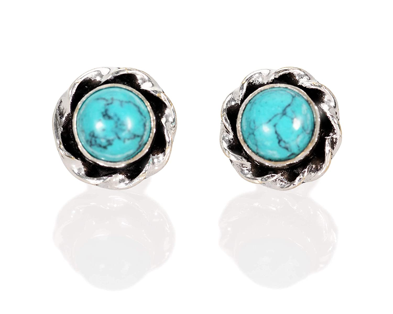 Turquoise Stud Earrings Silver Plated Ear Small Cash special price Pair R OFFicial store Studs of
