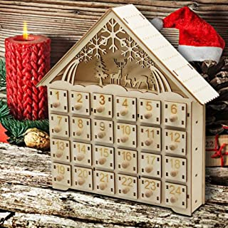 MorTime 24 Day Advent Calendar,Countdown to Christmas Wooden Advent Calendar 24 Storage Drawers, 100% Wood Construction | Cute Holiday Decoration | Measures,11.6