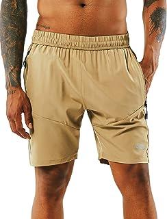 Yawho, pantaloncini sportivi da uomo, pantaloncini corti, da corsa, ad asciugatura rapida, con tasca con cerniera, per all...
