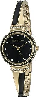 Anne Klein Women's AK/2216BKGB Swarovski Crystal Accented Gold-Tone and Black Bangle Watch
