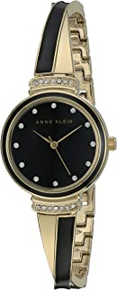 Women's AK/2216BKGB Swarovski Crystal Accented Gold-Tone and Black Bangle Watch