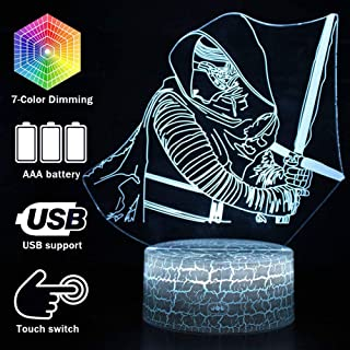 Magiclux 3D Illusion Star Wars Night Light, 7 Color Change Decor Lamp with Remote Control, for Kids and Star Wars Fans (MY191-Kylo Ren)