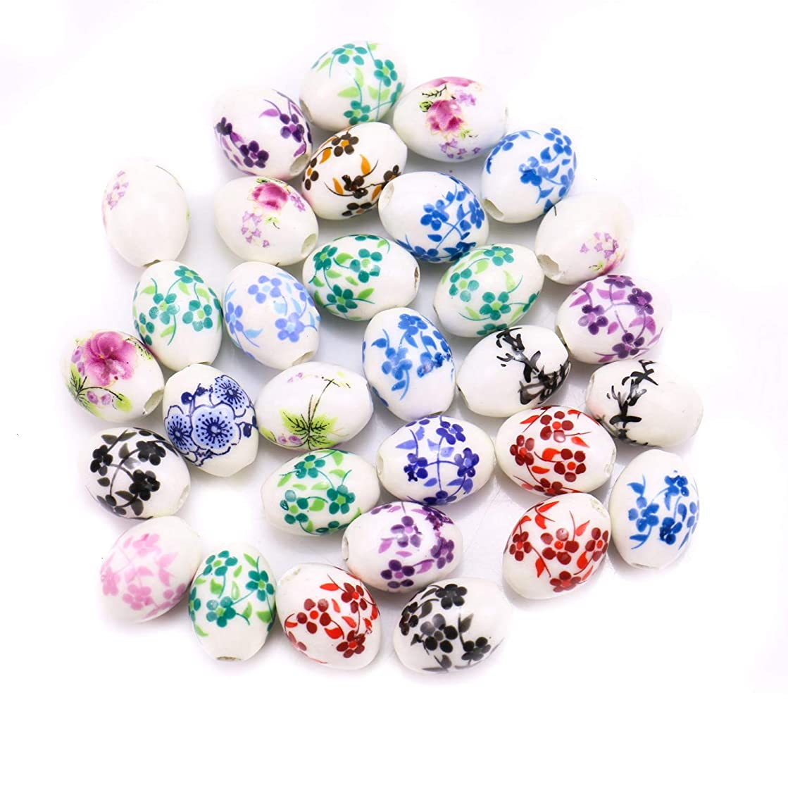 Monrocco 30Pcs Mixed Colors Floral Ceramic Beads,Round Spacer Beads for Jewelry Making DIY - 16 x 12mm