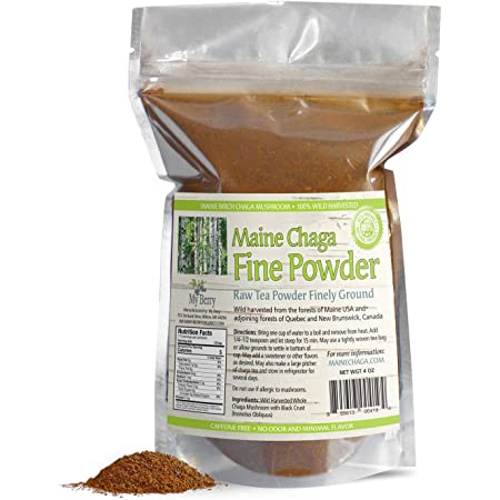 Maine Chaga Tea Fine Mushroom Powder, No Pesticides, Wild Harvested, NOT Sourced from Russia, 4oz, NOT an Extract But Whole Raw Chaga, Woman-Owned, Small Business