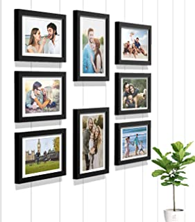 Art Street Synthetic Wood Wall Photo Frame Home Decor with Free Hanging Accessories (Size - 6x8, 8x10 Inches, Black) Set of 8