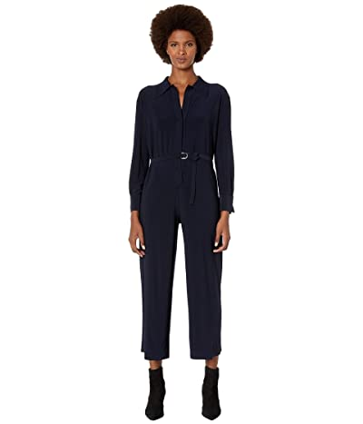KAMALIKULTURE by Norma Kamali Norma Kamali Shirt Cropped Straight Leg Jumpsuit (Midnight) Women