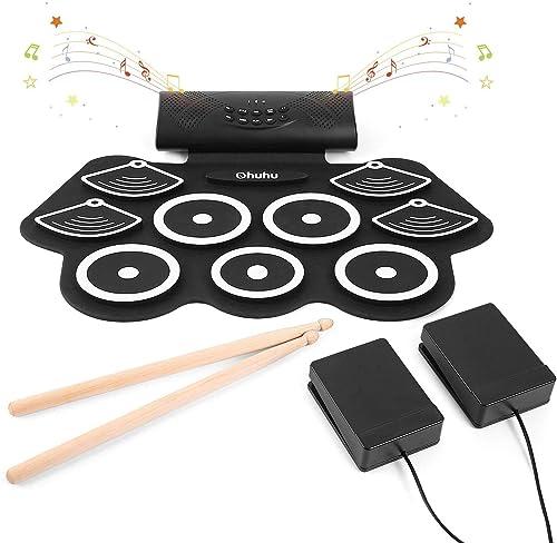 Ohuhu Juego de batería electrónica para niños y adultos. 9 tambores con conector para auriculares, altavoz incorporad...