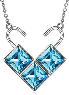AOBOCO Sterling Silver Love Heart Lock Pendant Simple Padlocks Cute Necklace Lock in My Heart Crystal from Swarovski Fashi...