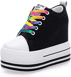 Shoes Woman Casual Shoes lace-up Increasing Heel Black Shoes Casual