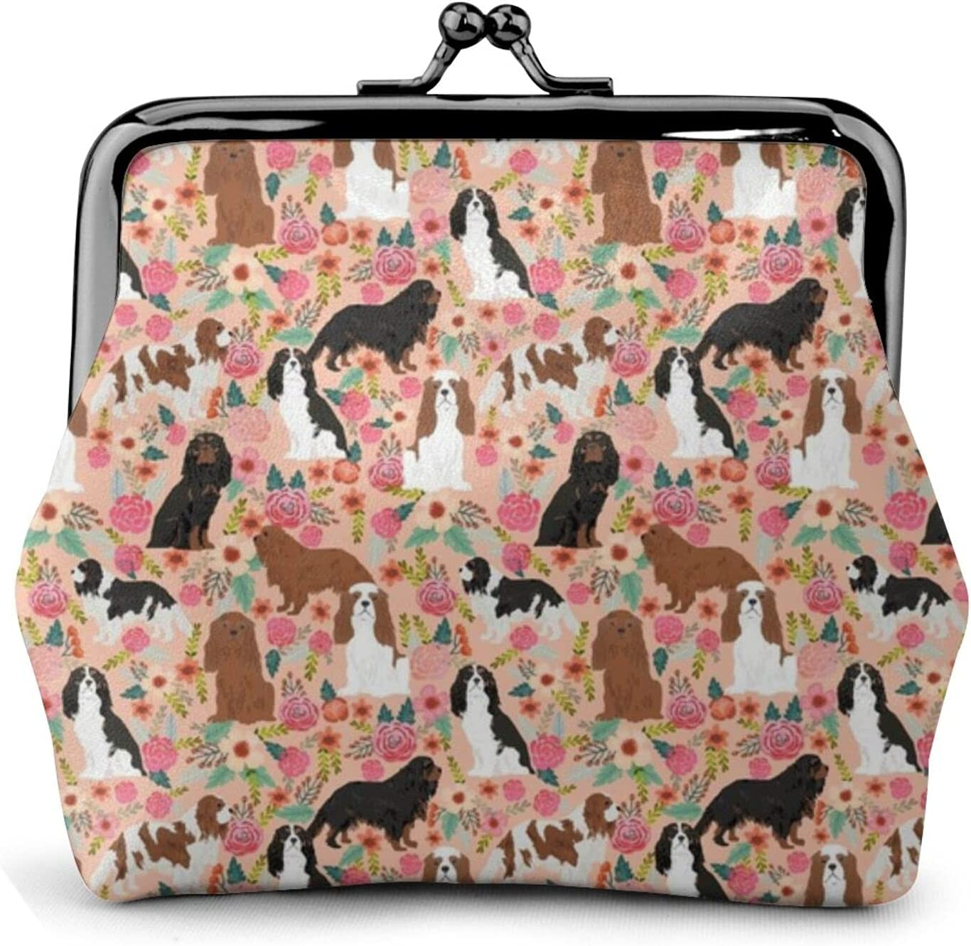 Cavalier King Charles 1443 Coin Purse Retro Money Pouch with Kiss-lock Buckle Small Wallet for Women and Girls