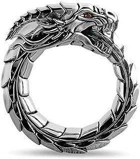 خاتم التنين من الأساطير للرجال خواتم ستيم بانك خاتم التنين ريترو هيب هوب شخصية خاتم (مقاس الخاتم: 11)