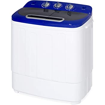 Best Choice Products Portable Compact Mini Twin Tub Laundry Washing Machine and Spin Cycle Dryer w/Hose, 13lbs Load Capacity, Built-In Drain - White/Blue