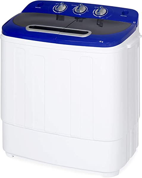 Best Choice Products Portable Compact Lightweight Mini Twin Tub Laundry Washing Machine And Spin Cycle For Camping Dorms Apartments W Hose 13lbs Load Capacity White Blue