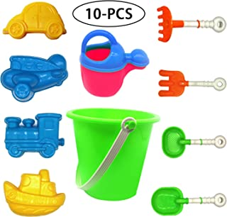 KakuFunny 10 Piece Beach Sand Toys for Kids with Bucket,Beach Shovels Kits,Watering Can,Airplane Mold,Car Mold,Train Mold and Boat Mold Party Supply Sandbox Toys for Toddlers,Kids Outdoor Toys