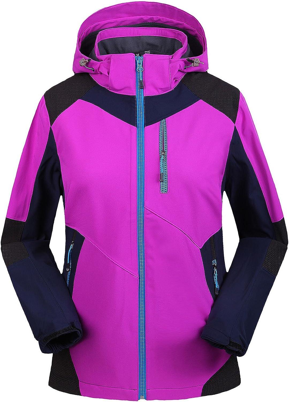 AIEOE Fashion Women's Hooded Waterproof Windproof Fleece Hiking Jacket