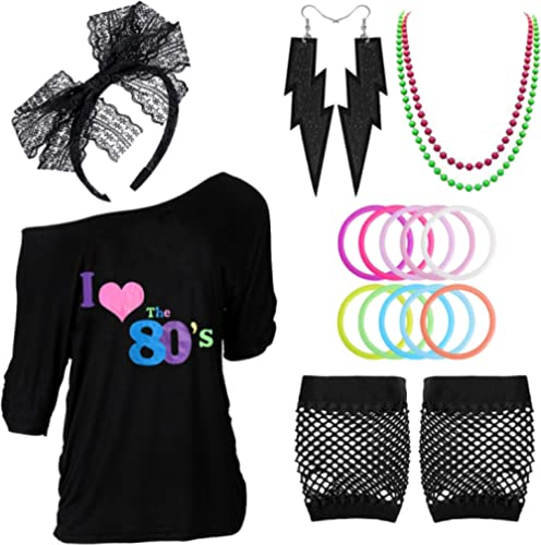80s Outfits Costume Accessories for Women,I Love 80's Print Off Shoulder T-Shirt for 80s Costumes