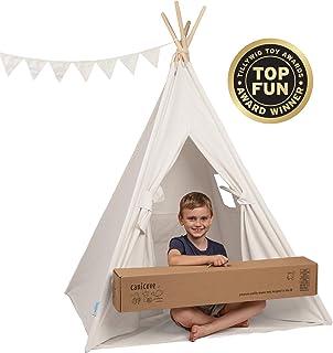 Canicove Tipi Zelt Für Kinder - Faltbares Indoor & Outdoor Set Baumwolle Naturfarben mit Massivholzpfosten & Jux Flaggen für 2 Jungen & Mädchen Weiß Segeltuch Wigwam