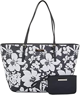 Nine West It Girl Isadore Cruise Tote with Pouch (أسود زهري)