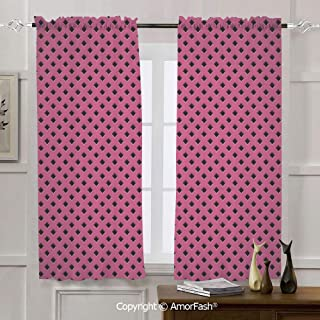 AmorFash Magenta Decor Sheer Curtain Panels Bedroom - Home Decoration Voile Panels with Rod Pocket,42x45 Inch Diamond Line Grill Wire Design Logo Digital Motif Image