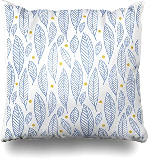 Throw Pillow Cover Shape Blue Fall Leaves Gold Circle Hand Dawn Pattern Rose Summer in Pantone Colors Serenity Quartz Decorative Case Cushion Home Decor Covers 18 x 18 Inch