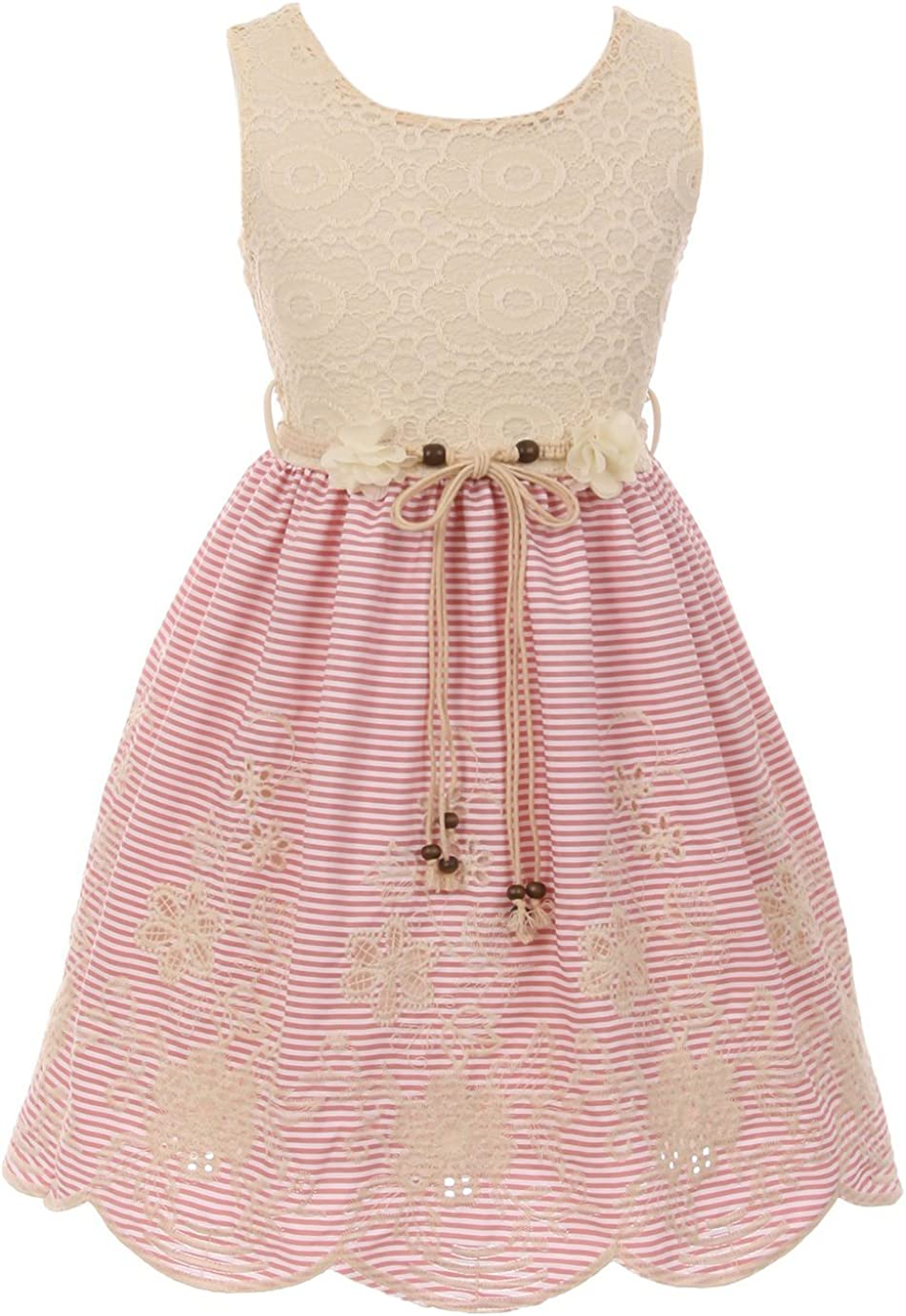 Little Girls Floral Lace Embroider Stripes Tea Party Birthday Flower Girl Dress