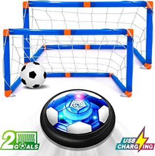 Kids Game Toys Hover Soccer Ball Set Rechargeable Air Soccer with 2 Goals, Air Soccer with LED Light, USB Rechargeable Floating Soccer Ball for Indoor Outdoor Sports Ball Game for Boy Girl Best Gift