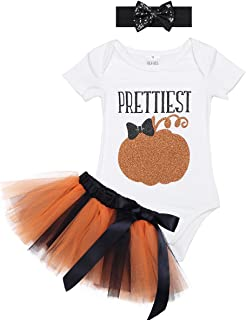 2705e00111d29 dPois Infant Toddlers Baby Girls  Halloween Cosplay 3PCS Pumpkin Outfits  Glittery Romper Tutu Skirt with