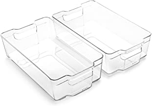 BINO Stackable Rectangular Plastic Storage Organizer Bin, X-Large - 2 PACK - Clear and Transparent Nesting Container for H...