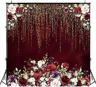 Riyidecor Hintergrund mit Blumenmuster, Burgunderrot, rot, 8Wx8H