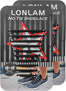 LONLAM No Tie Shoelaces Silicone Elastic Tieless Round Stretch Shoe Strings Adults Kids Bungee Rubber Laceless Sneakers