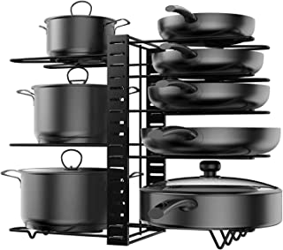 Porte Casserole Cuisine Range Poêle et Casserole Détachable Organiseur de Poêle Réglable en Acier Inoxydable pour Ustensil...