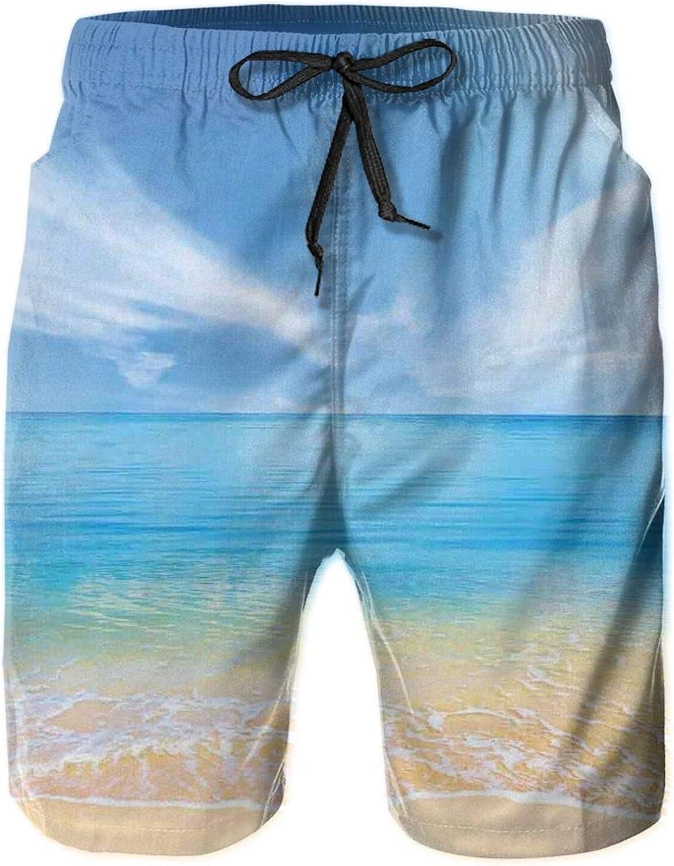 Sand Beach in Summer at A Hot Island with Clean Sky Blue Sea Drawstring Waist Beach Shorts for Men Swim Trucks Board Shorts with Mesh Lining,M